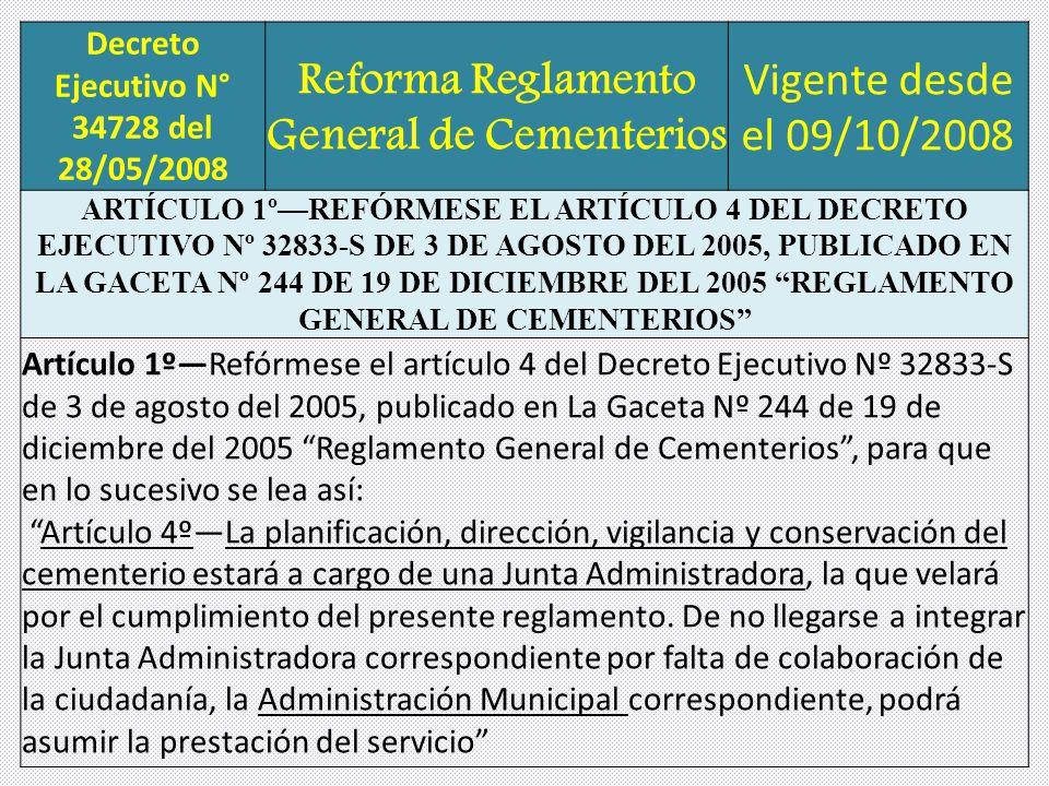 Decreto Ejecutivo N° 34728 del 28/05/2008 Reforma Reglamento General de Cementerios Vigente desde el 09/10/2008 ARTÍCULO 1ºREFÓRMESE EL ARTÍCULO 4 DEL DECRETO EJECUTIVO Nº 32833-S DE 3 DE AGOSTO DEL 2005, PUBLICADO EN LA GACETA Nº 244 DE 19 DE DICIEMBRE DEL 2005 REGLAMENTO GENERAL DE CEMENTERIOS Artículo 1ºRefórmese el artículo 4 del Decreto Ejecutivo Nº 32833-S de 3 de agosto del 2005, publicado en La Gaceta Nº 244 de 19 de diciembre del 2005 Reglamento General de Cementerios, para que en lo sucesivo se lea así: Artículo 4ºLa planificación, dirección, vigilancia y conservación del cementerio estará a cargo de una Junta Administradora, la que velará por el cumplimiento del presente reglamento.