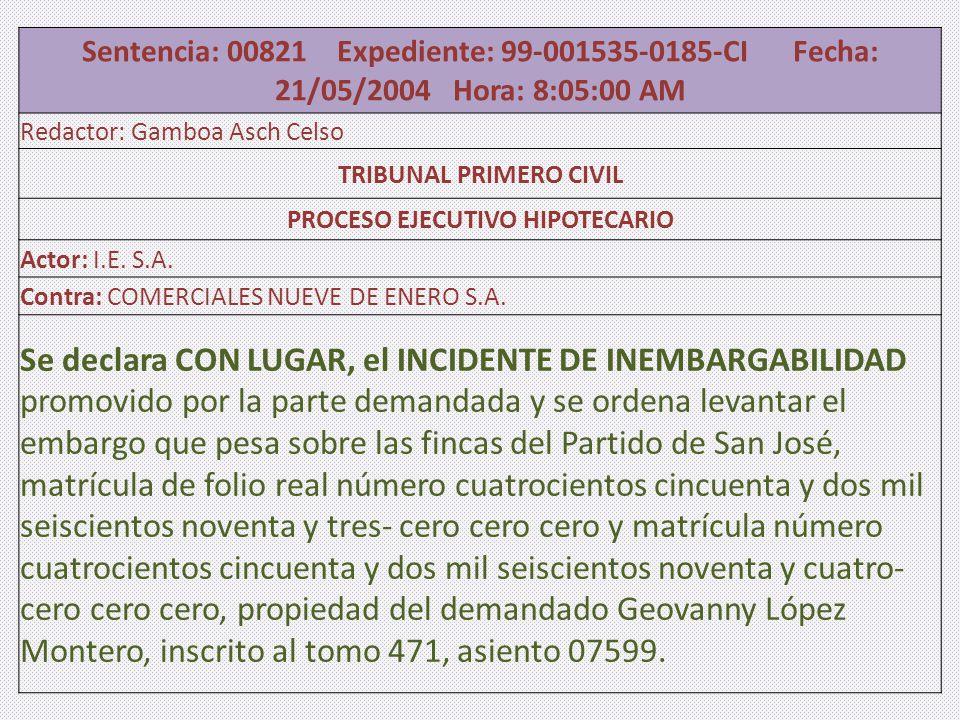 Sentencia: 00821 Expediente: 99-001535-0185-CI Fecha: 21/05/2004 Hora: 8:05:00 AM Redactor: Gamboa Asch Celso TRIBUNAL PRIMERO CIVIL PROCESO EJECUTIVO HIPOTECARIO Actor: I.E.