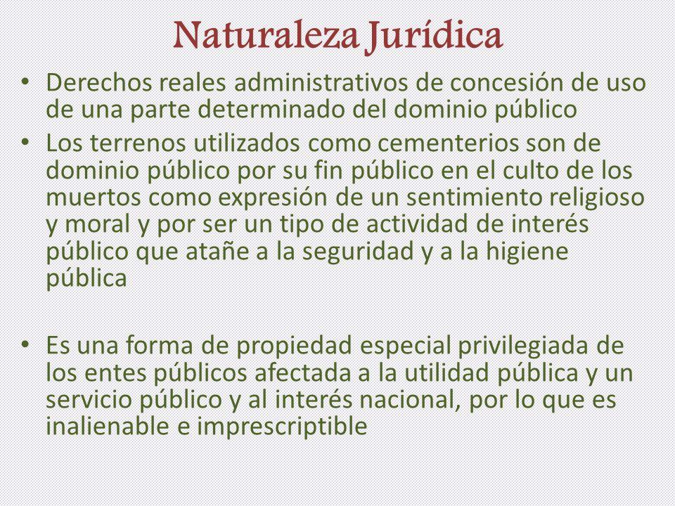 Naturaleza Jurídica Derechos reales administrativos de concesión de uso de una parte determinado del dominio público Los terrenos utilizados como ceme