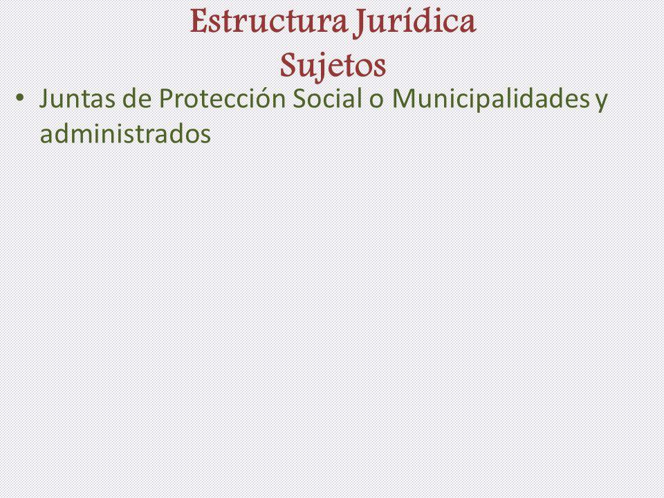 Estructura Jurídica Sujetos Juntas de Protección Social o Municipalidades y administrados