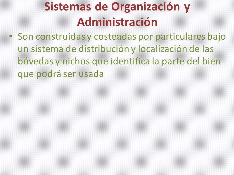 Sistemas de Organización y Administración Son construidas y costeadas por particulares bajo un sistema de distribución y localización de las bóvedas y nichos que identifica la parte del bien que podrá ser usada