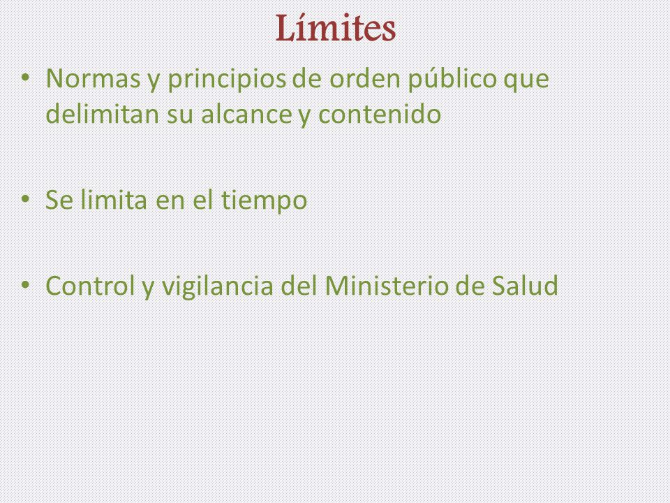Límites Normas y principios de orden público que delimitan su alcance y contenido Se limita en el tiempo Control y vigilancia del Ministerio de Salud