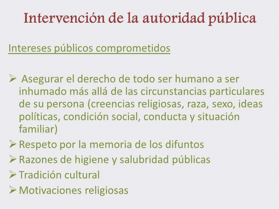 Intervención de la autoridad pública Intereses públicos comprometidos Asegurar el derecho de todo ser humano a ser inhumado más allá de las circunstan