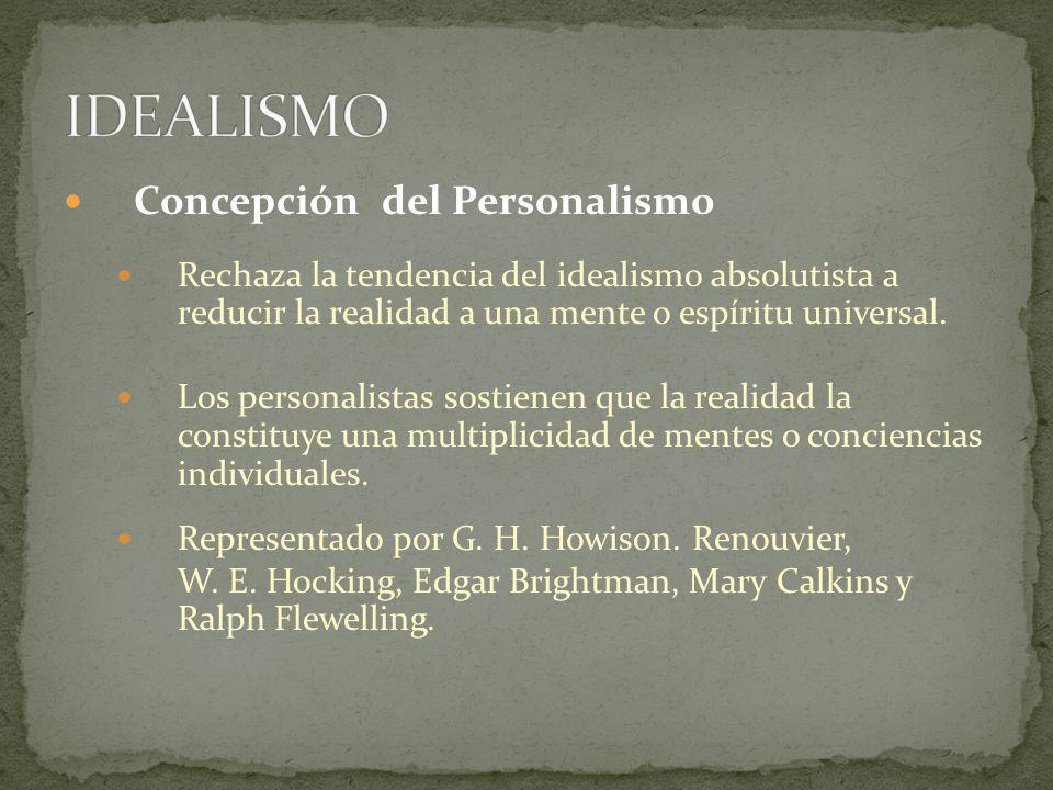 Concepción del Personalismo Rechaza la tendencia del idealismo absolutista a reducir la realidad a una mente o espíritu universal. Los personalistas s