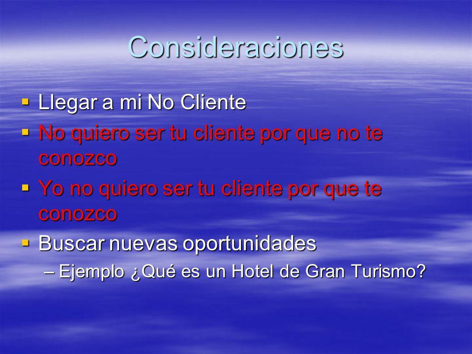 Consideraciones Llegar a mi No Cliente Llegar a mi No Cliente No quiero ser tu cliente por que no te conozco No quiero ser tu cliente por que no te conozco Yo no quiero ser tu cliente por que te conozco Yo no quiero ser tu cliente por que te conozco Buscar nuevas oportunidades Buscar nuevas oportunidades –Ejemplo ¿Qué es un Hotel de Gran Turismo?