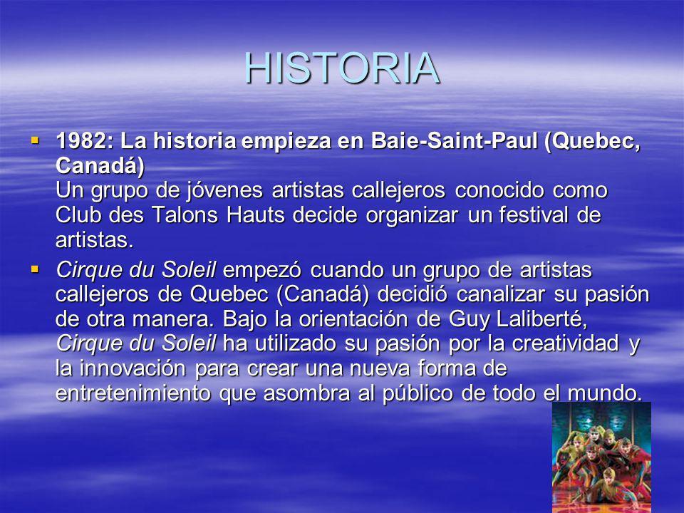 HISTORIA 1982: La historia empieza en Baie-Saint-Paul (Quebec, Canadá) Un grupo de jóvenes artistas callejeros conocido como Club des Talons Hauts decide organizar un festival de artistas.