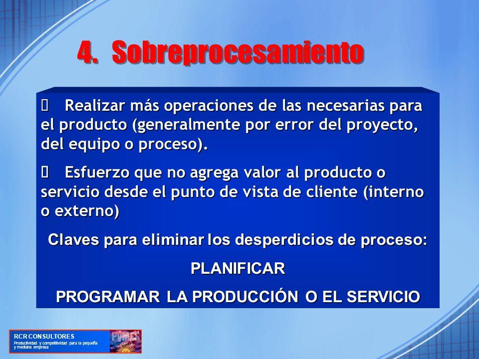 Realizar más operaciones de las necesarias para el producto (generalmente por error del proyecto, del equipo o proceso).