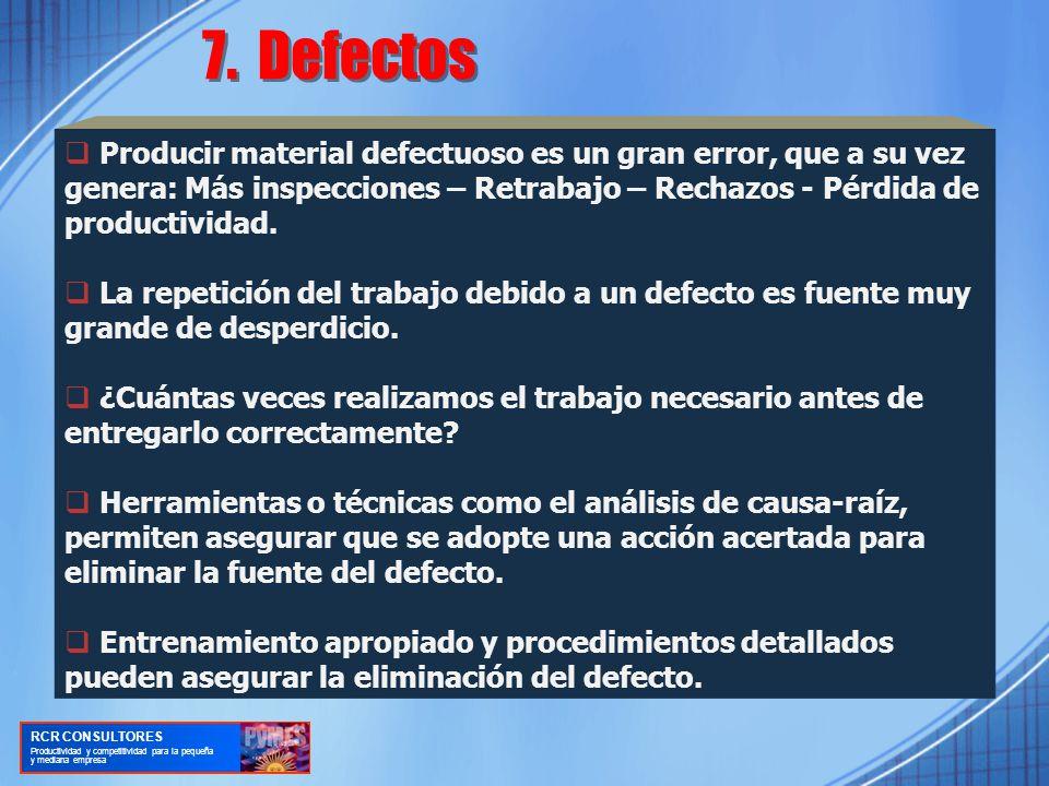 Producir material defectuoso es un gran error, que a su vez genera: Más inspecciones – Retrabajo – Rechazos - Pérdida de productividad.
