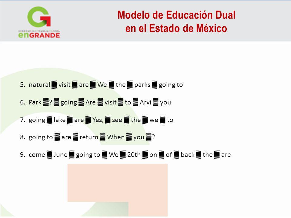 Modelo de Educación Dual en el Estado de México 5. natural visit are We the parks going to 6. Park ? going Are visit to Arvi you 7. going lake are Yes