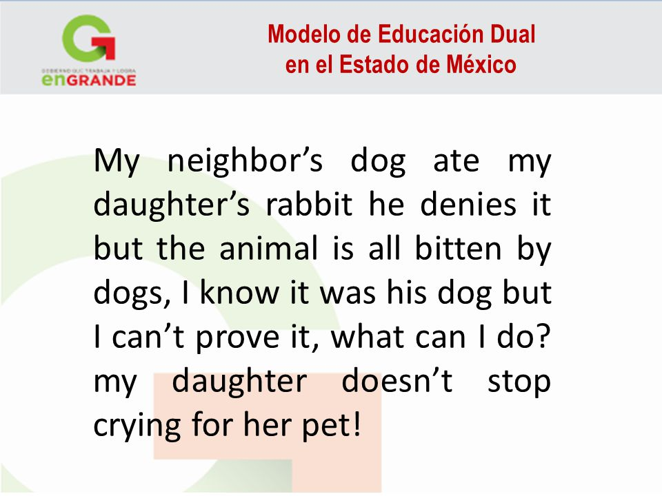 Modelo de Educación Dual en el Estado de México My neighbors dog ate my daughters rabbit he denies it but the animal is all bitten by dogs, I know it was his dog but I cant prove it, what can I do.