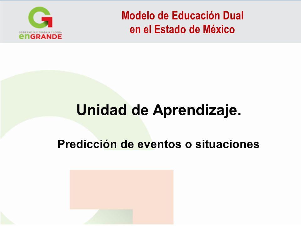 Modelo de Educación Dual en el Estado de México Unidad de Aprendizaje. Predicción de eventos o situaciones