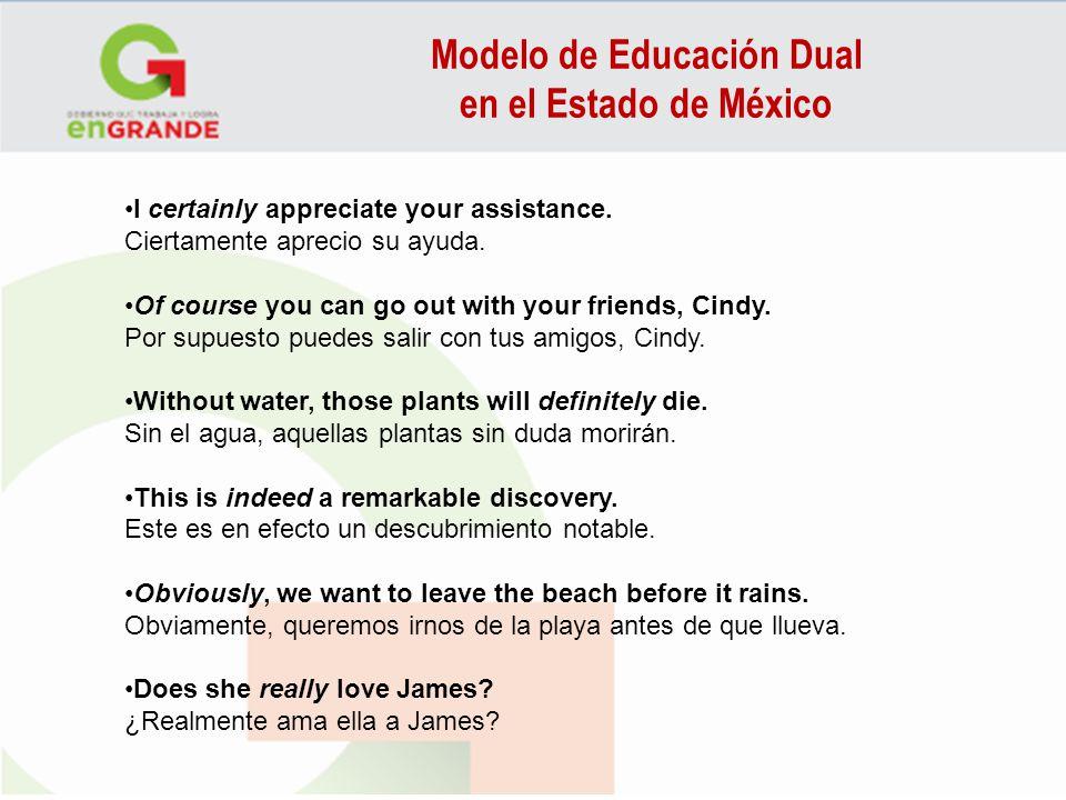 Modelo de Educación Dual en el Estado de México I certainly appreciate your assistance. Ciertamente aprecio su ayuda. Of course you can go out with yo