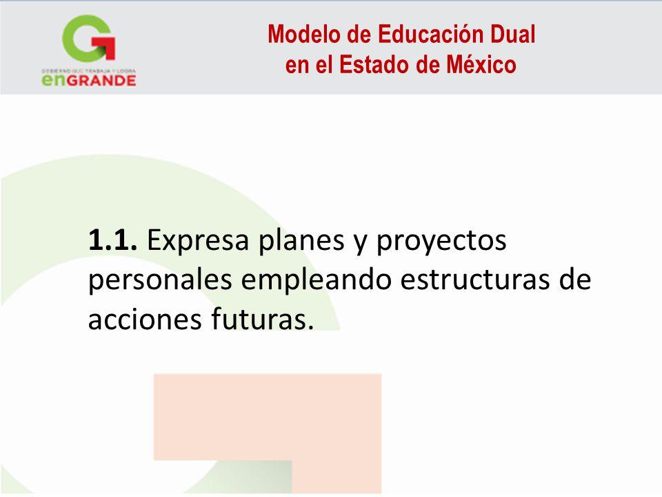 Modelo de Educación Dual en el Estado de México 1.1. Expresa planes y proyectos personales empleando estructuras de acciones futuras.
