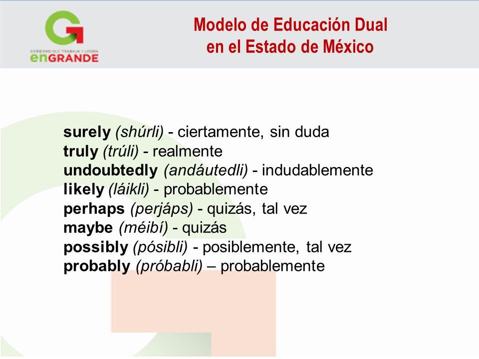 Modelo de Educación Dual en el Estado de México surely (shúrli) - ciertamente, sin duda truly (trúli) - realmente undoubtedly (andáutedli) - indudable