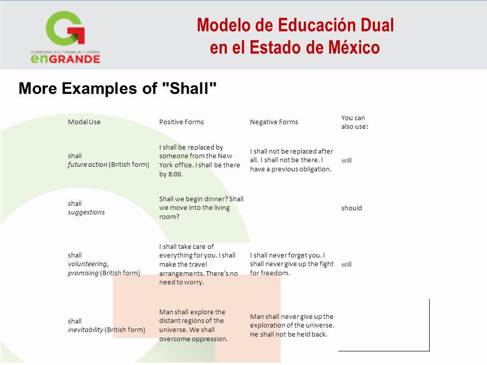 Modelo de Educación Dual en el Estado de México Modal UsePositive FormsNegative Forms You can also use: shall future action (British form) I shall be