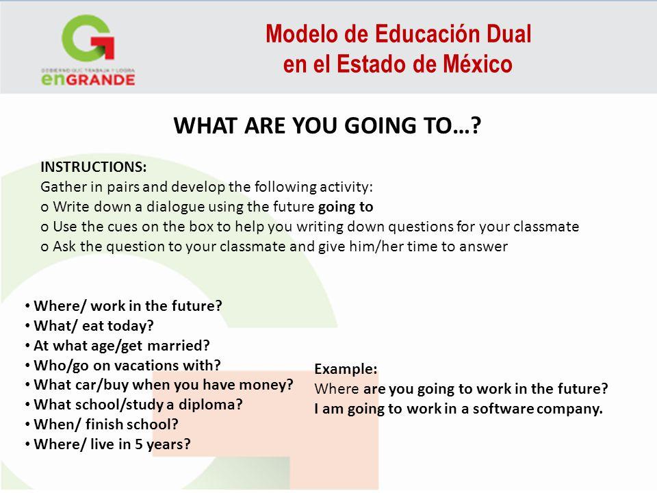 Modelo de Educación Dual en el Estado de México WHAT ARE YOU GOING TO…? INSTRUCTIONS: Gather in pairs and develop the following activity: o Write down
