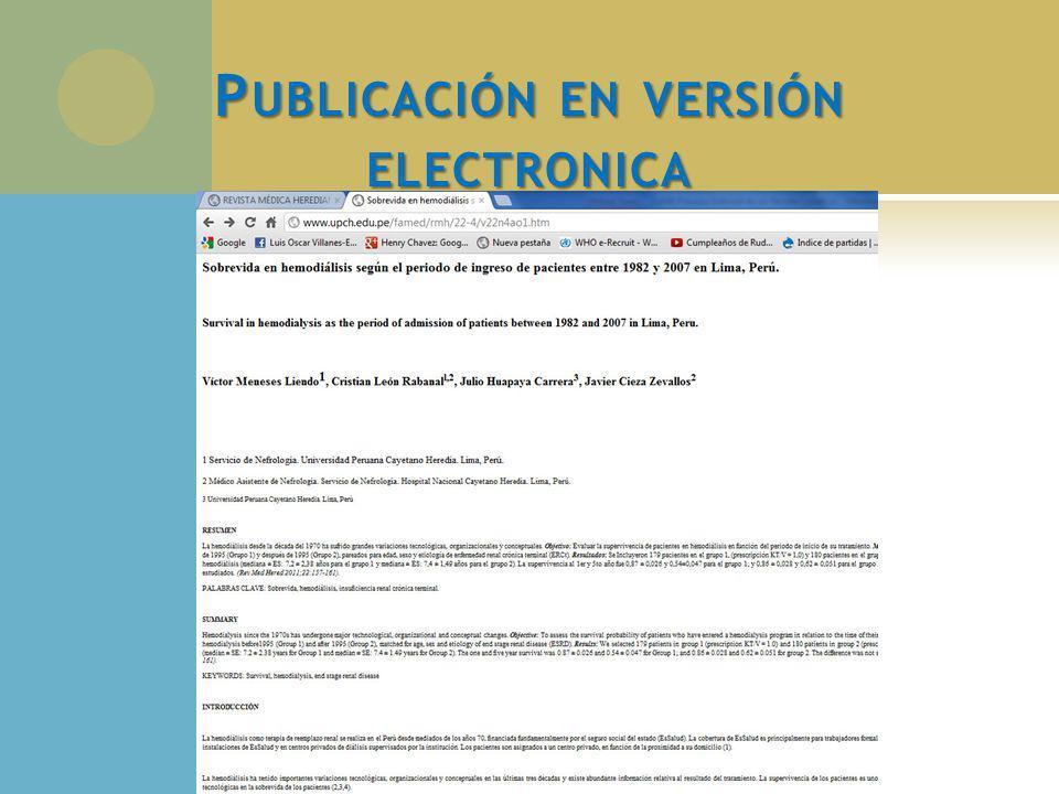 P UBLICACIÓN EN VERSIÓN ELECTRONICA