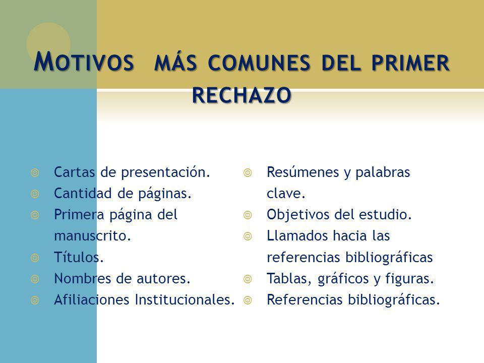M OTIVOS MÁS COMUNES DEL PRIMER RECHAZO Cartas de presentación. Cantidad de páginas. Primera página del manuscrito. Títulos. Nombres de autores. Afili