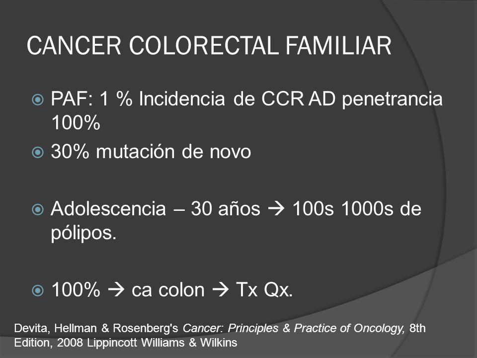CANCER COLORECTAL FAMILIAR PAF: 1 % Incidencia de CCR AD penetrancia 100% 30% mutación de novo Adolescencia – 30 años 100s 1000s de pólipos. 100% ca c
