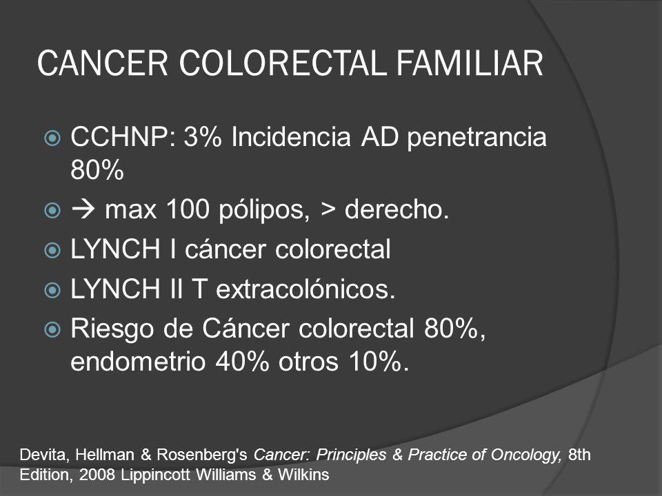 CANCER COLORECTAL FAMILIAR CCHNP: 3% Incidencia AD penetrancia 80% max 100 pólipos, > derecho. LYNCH I cáncer colorectal LYNCH II T extracolónicos. Ri