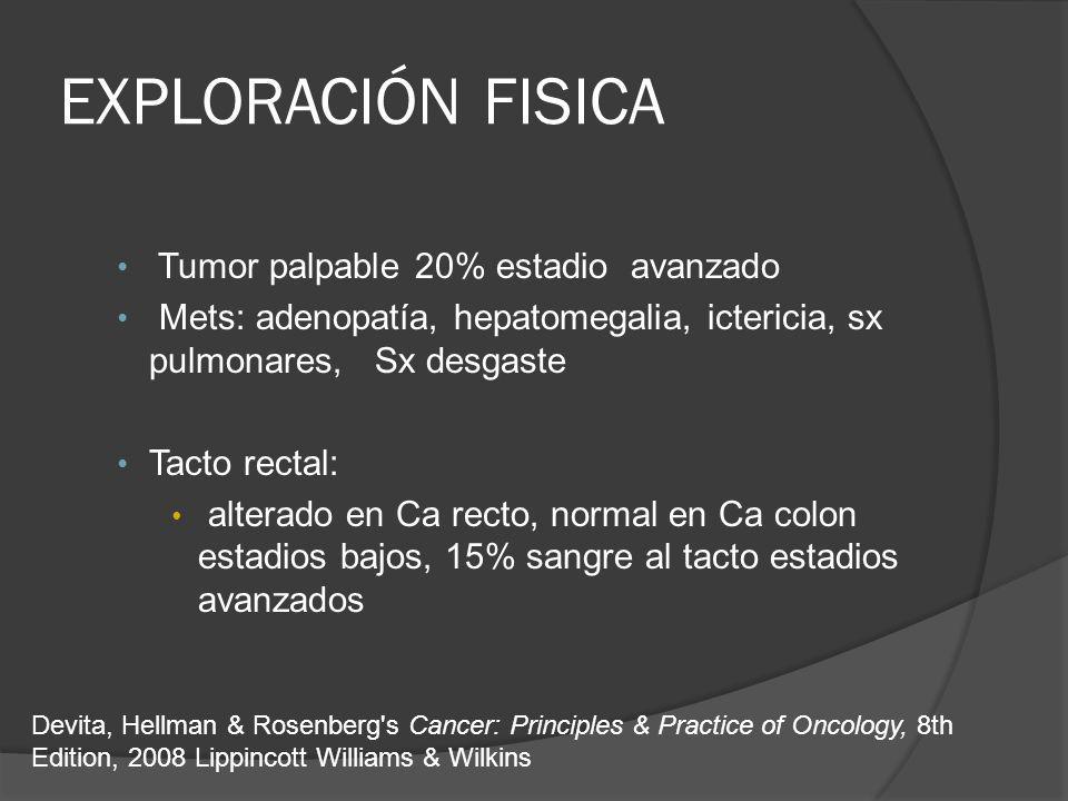 EXPLORACIÓN FISICA Tumor palpable 20% estadio avanzado Mets: adenopatía, hepatomegalia, ictericia, sx pulmonares, Sx desgaste Tacto rectal: alterado en Ca recto, normal en Ca colon estadios bajos, 15% sangre al tacto estadios avanzados Devita, Hellman & Rosenberg s Cancer: Principles & Practice of Oncology, 8th Edition, 2008 Lippincott Williams & Wilkins