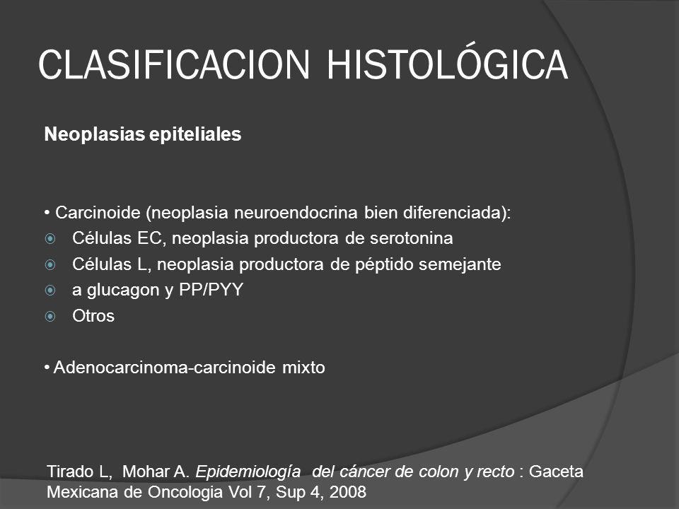 CLASIFICACION HISTOLÓGICA Neoplasias epiteliales Carcinoide (neoplasia neuroendocrina bien diferenciada): Células EC, neoplasia productora de serotonina Células L, neoplasia productora de péptido semejante a glucagon y PP/PYY Otros Adenocarcinoma-carcinoide mixto Tirado L, Mohar A.