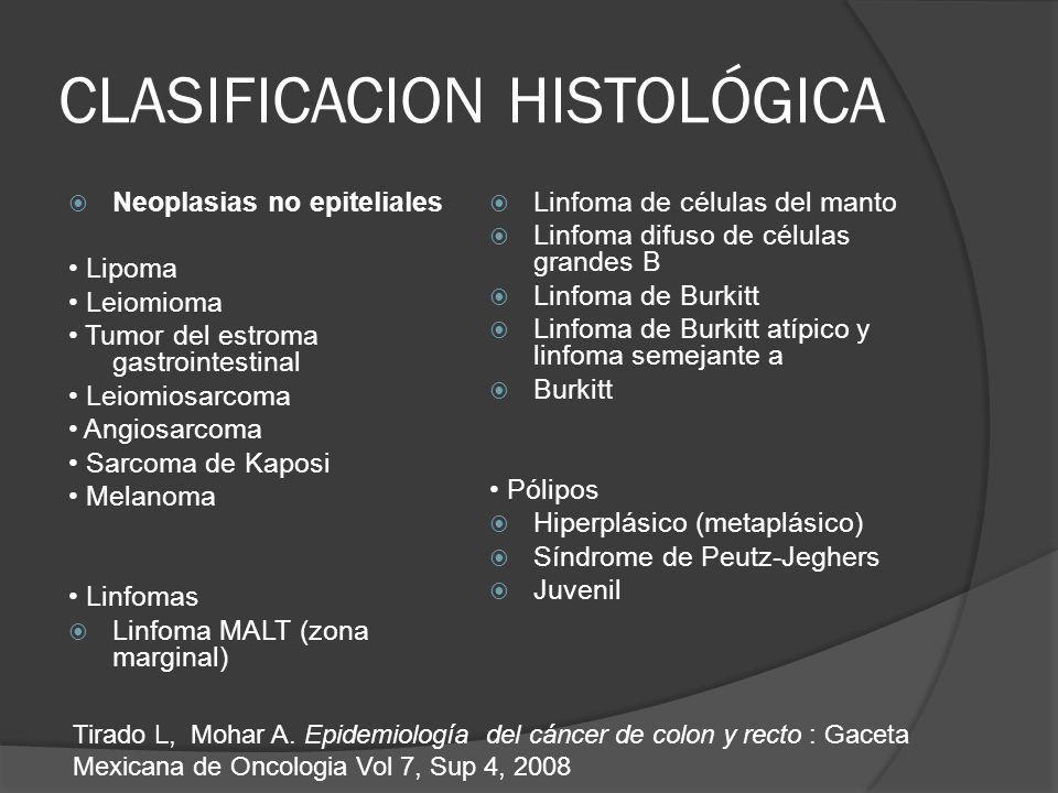 CLASIFICACION HISTOLÓGICA Neoplasias no epiteliales Lipoma Leiomioma Tumor del estroma gastrointestinal Leiomiosarcoma Angiosarcoma Sarcoma de Kaposi Melanoma Linfomas Linfoma MALT (zona marginal) Linfoma de células del manto Linfoma difuso de células grandes B Linfoma de Burkitt Linfoma de Burkitt atípico y linfoma semejante a Burkitt Pólipos Hiperplásico (metaplásico) Síndrome de Peutz-Jeghers Juvenil Tirado L, Mohar A.