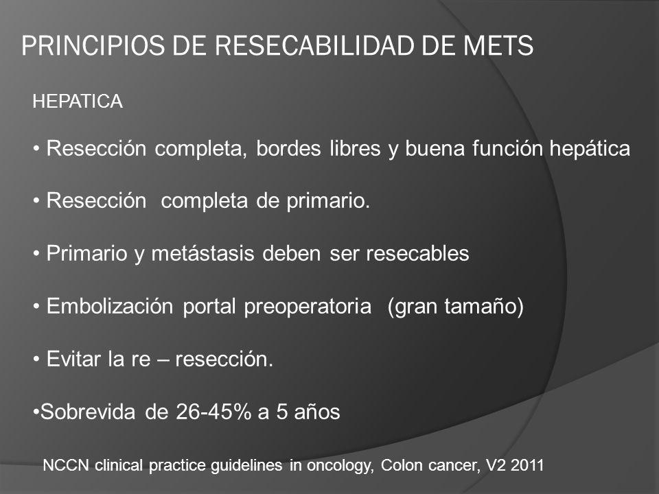 HEPATICA Resección completa, bordes libres y buena función hepática Resección completa de primario. Primario y metástasis deben ser resecables Emboliz