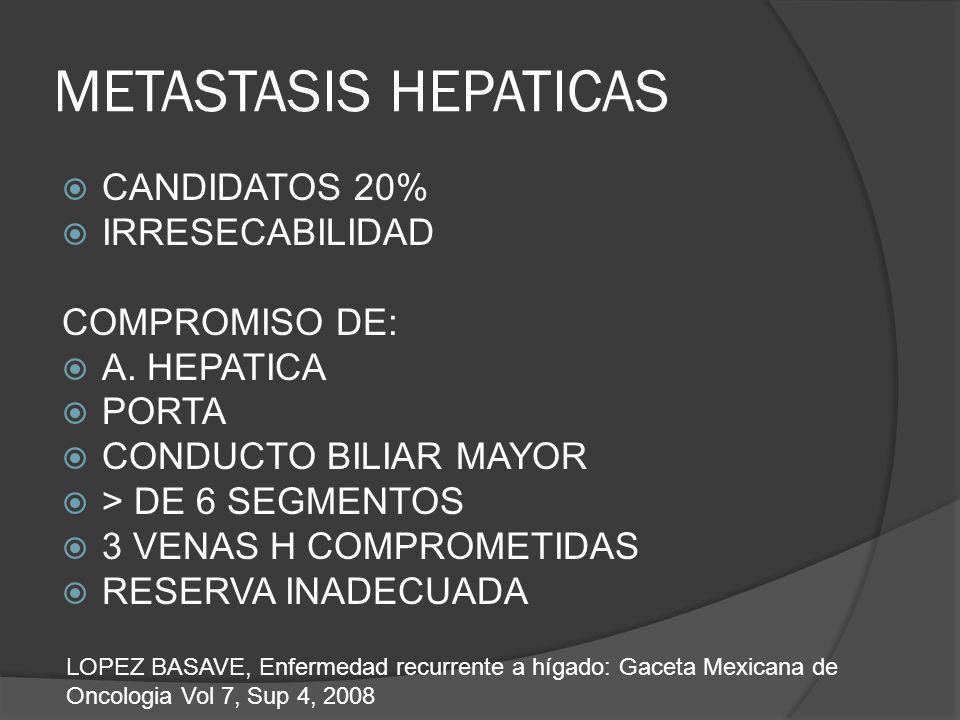 METASTASIS HEPATICAS CANDIDATOS 20% IRRESECABILIDAD COMPROMISO DE: A. HEPATICA PORTA CONDUCTO BILIAR MAYOR > DE 6 SEGMENTOS 3 VENAS H COMPROMETIDAS RE