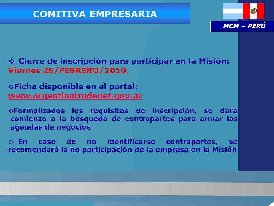 Cierre de inscripción para participar en la Misión: Viernes 26/FEBRERO/2010.