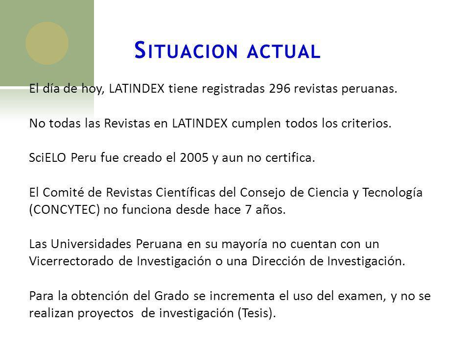 S ITUACION ACTUAL El día de hoy, LATINDEX tiene registradas 296 revistas peruanas. No todas las Revistas en LATINDEX cumplen todos los criterios. SciE