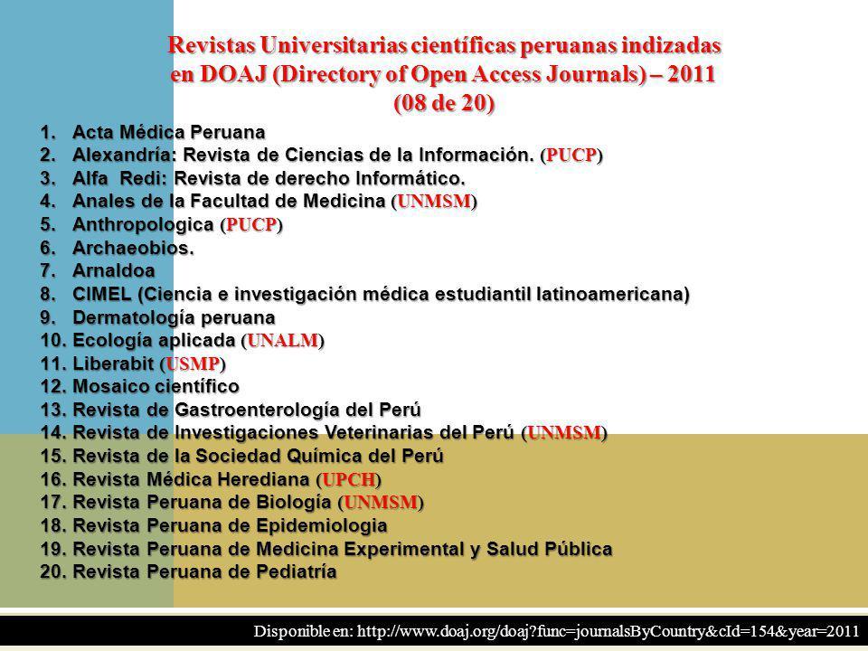 11 Revistas Universitarias científicas peruanas indizadas en DOAJ (Directory of Open Access Journals) – 2011 (08 de 20) 1.Acta Médica Peruana 2.Alexan
