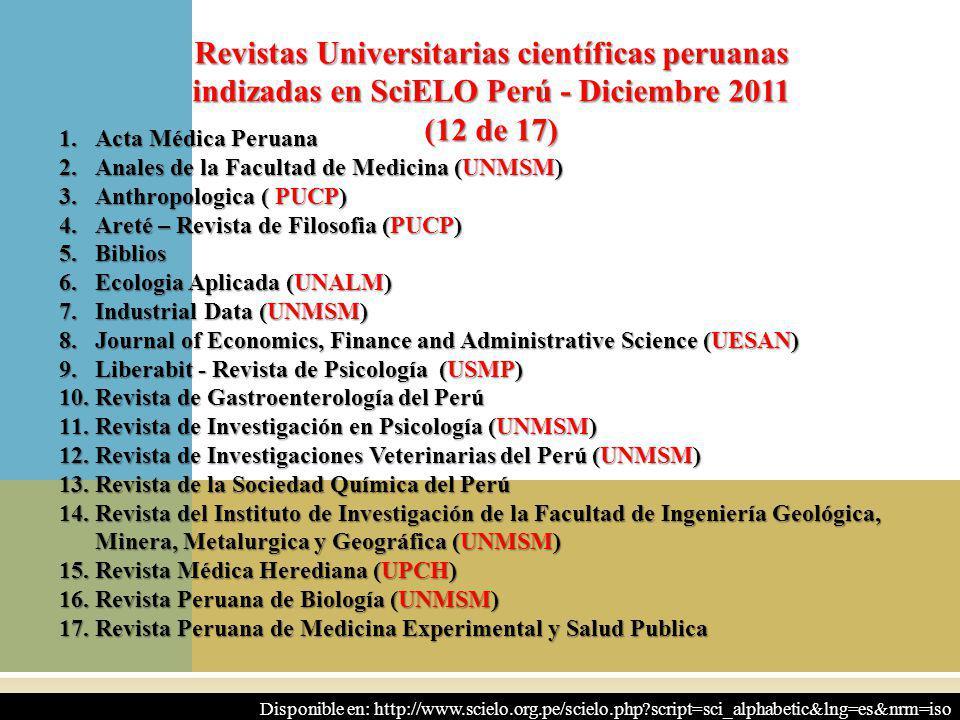 12 1.Acta Médica Peruana 2.Anales de la Facultad de Medicina (UNMSM) 3.Anthropologica ( PUCP) 4.Areté – Revista de Filosofia (PUCP) 5.Biblios 6.Ecolog