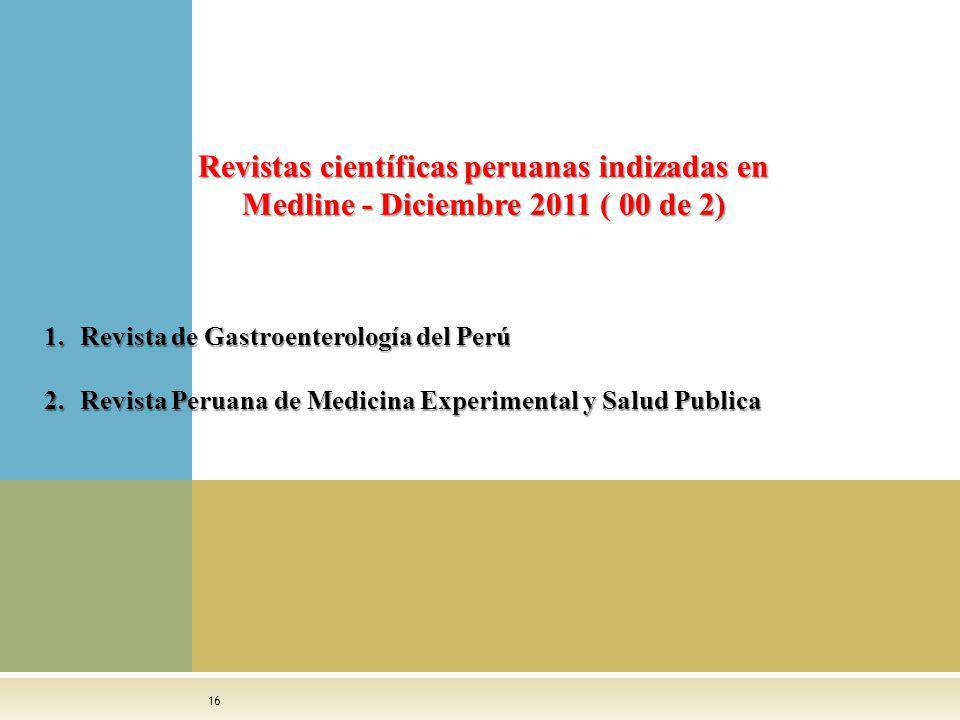 16 1.Revista de Gastroenterología del Perú 2.Revista Peruana de Medicina Experimental y Salud Publica Revistas científicas peruanas indizadas en Medli