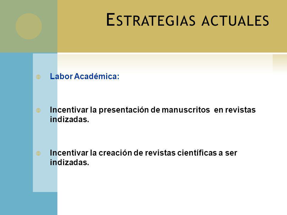 E STRATEGIAS ACTUALES Labor Académica: Incentivar la presentación de manuscritos en revistas indizadas. Incentivar la creación de revistas científicas