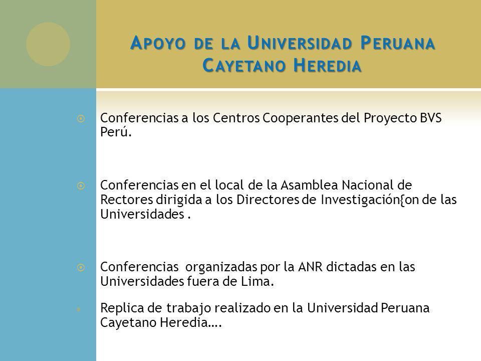 A POYO DE LA U NIVERSIDAD P ERUANA C AYETANO H EREDIA Conferencias a los Centros Cooperantes del Proyecto BVS Perú. Conferencias en el local de la Asa