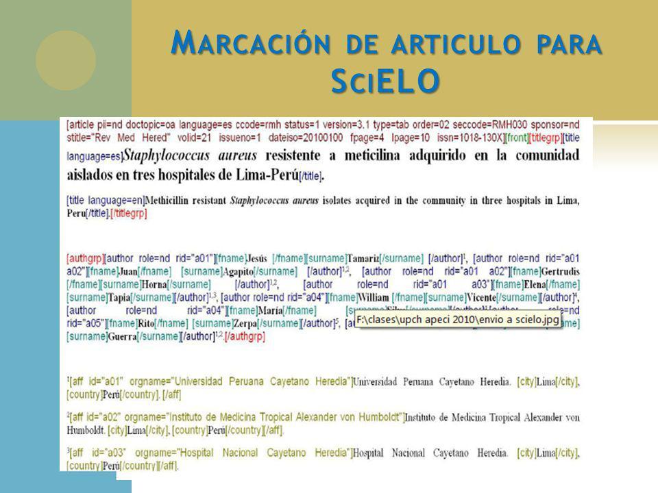 M ARCACIÓN DE ARTICULO PARA S CI ELO