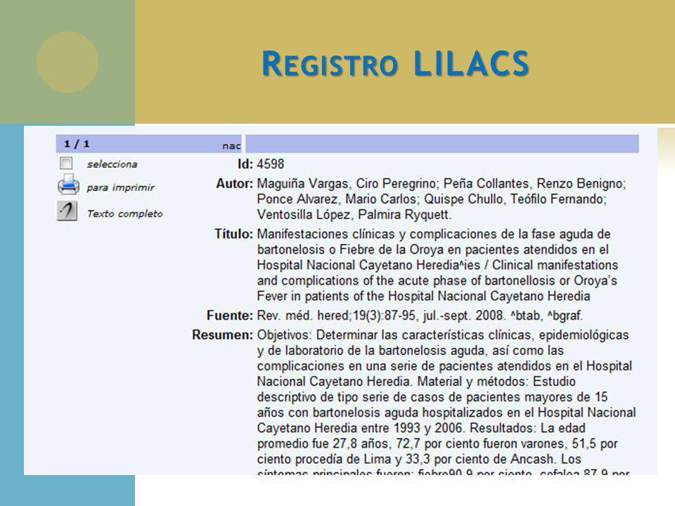 R EGISTRO LILACS