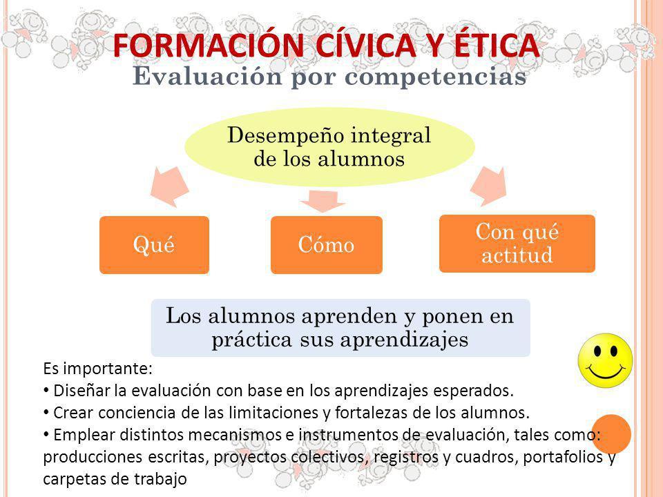 FORMACIÓN CÍVICA Y ÉTICA Evaluación por competencias Es importante: Diseñar la evaluación con base en los aprendizajes esperados. Crear conciencia de