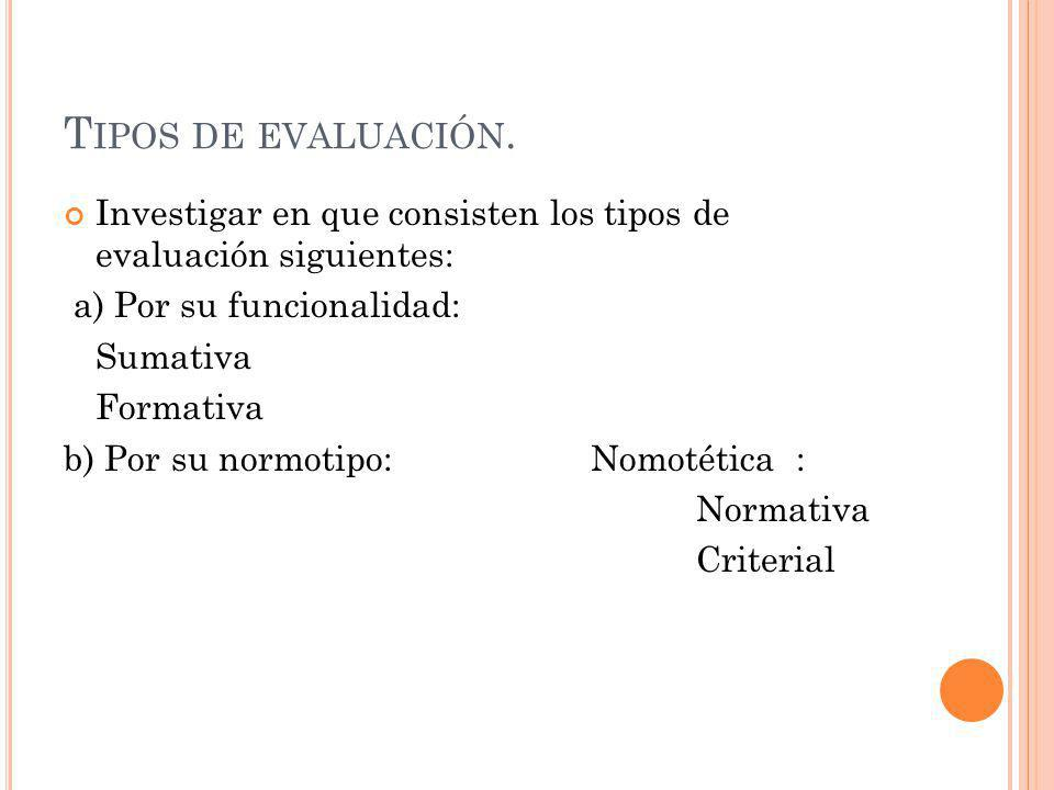 T IPOS DE EVALUACIÓN. Investigar en que consisten los tipos de evaluación siguientes: a) Por su funcionalidad: Sumativa Formativa b) Por su normotipo: