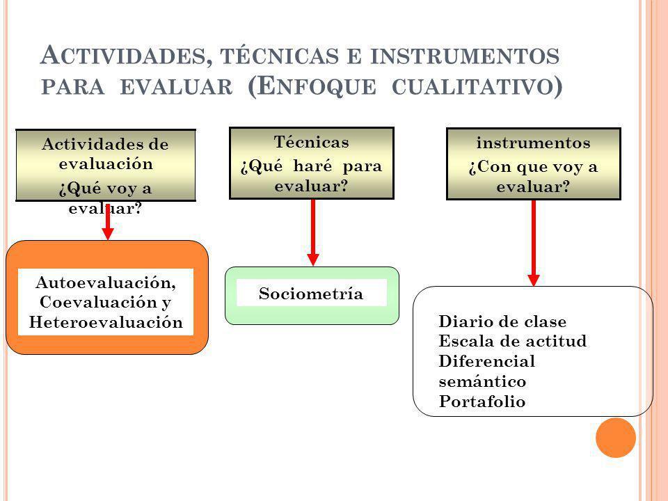 A CTIVIDADES, TÉCNICAS E INSTRUMENTOS PARA EVALUAR (E NFOQUE CUALITATIVO ) Autoevaluación, Coevaluación y Heteroevaluación Sociometría Actividades de