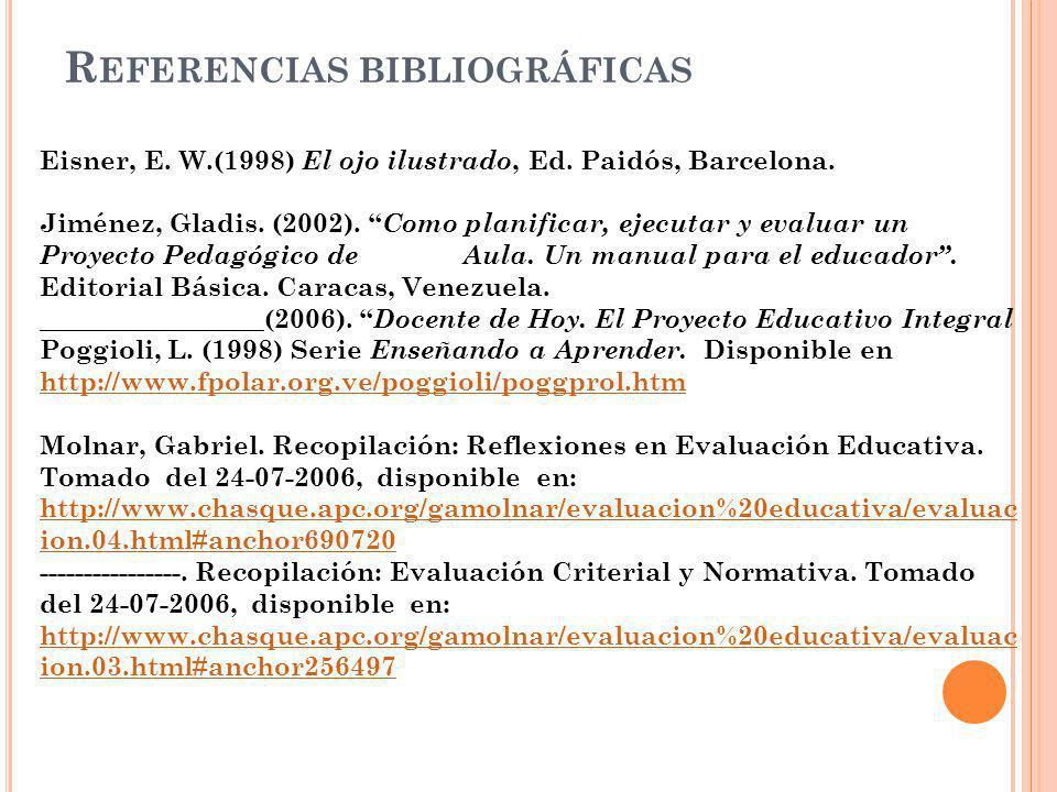 R EFERENCIAS BIBLIOGRÁFICAS Eisner, E. W.(1998) El ojo ilustrado, Ed. Paidós, Barcelona. Jiménez, Gladis. (2002). Como planificar, ejecutar y evaluar