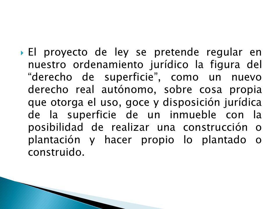El Ius edificandi (Derecho de Edificar) y el Derecho de efectuar plantaciones o cultivos, el último que no es reconocido en todas las legislaciones y no es propio del derecho real de superficie.