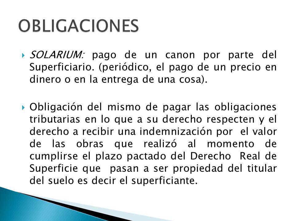 SOLARIUM: pago de un canon por parte del Superficiario. (periódico, el pago de un precio en dinero o en la entrega de una cosa). Obligación del mismo