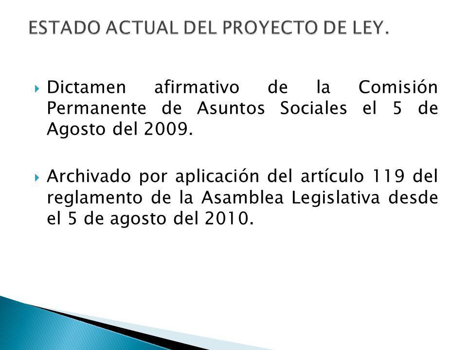 Dictamen afirmativo de la Comisión Permanente de Asuntos Sociales el 5 de Agosto del 2009. Archivado por aplicación del artículo 119 del reglamento de
