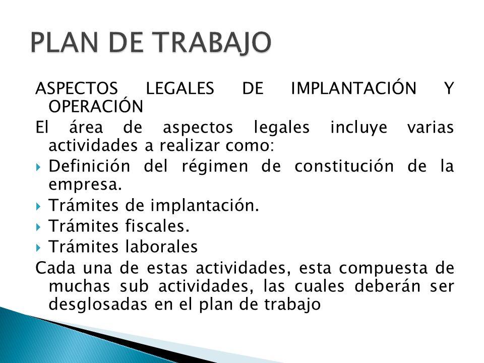 ASPECTOS LEGALES DE IMPLANTACIÓN Y OPERACIÓN El área de aspectos legales incluye varias actividades a realizar como: Definición del régimen de constit