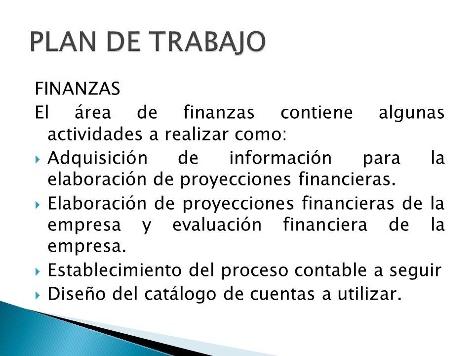 FINANZAS El área de finanzas contiene algunas actividades a realizar como: Adquisición de información para la elaboración de proyecciones financieras.