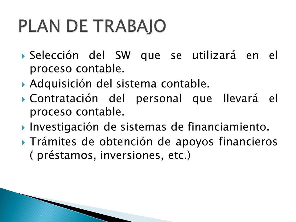 Selección del SW que se utilizará en el proceso contable. Adquisición del sistema contable. Contratación del personal que llevará el proceso contable.
