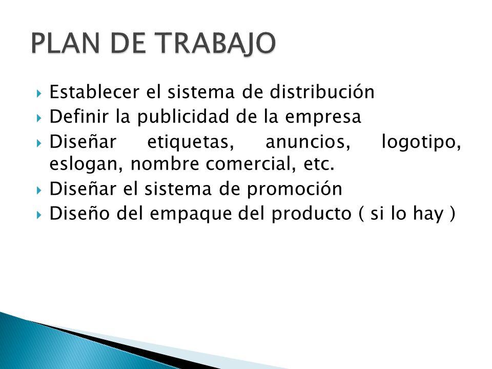 Establecer el sistema de distribución Definir la publicidad de la empresa Diseñar etiquetas, anuncios, logotipo, eslogan, nombre comercial, etc. Diseñ