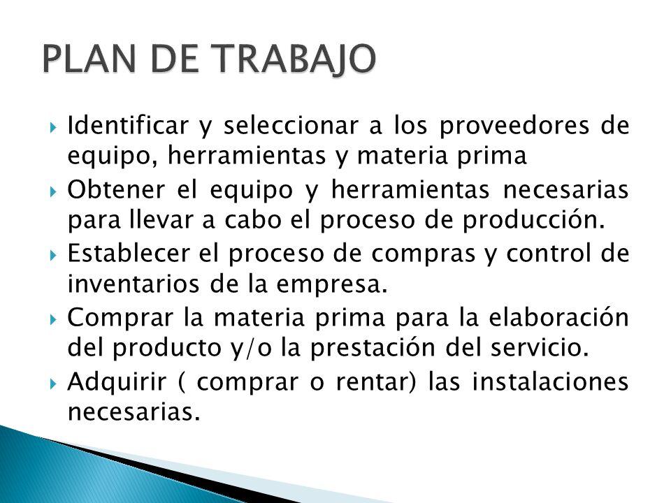 Acondicionar las instalaciones de la empresa ( tanto de producción como administrativas.) Reclutar y capacitar a la mano de obra necesaria.